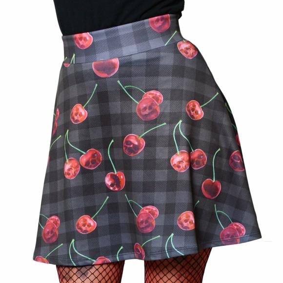 Kreeps Dresses & Skirts - Cherry Skull Skirt L Gothic Plaid Black Red Skater